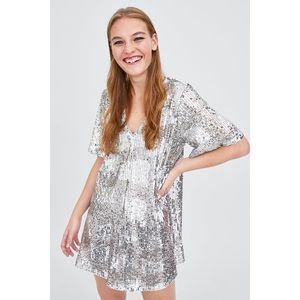Zara Limited Edition Metallic Silver Sequin Dress